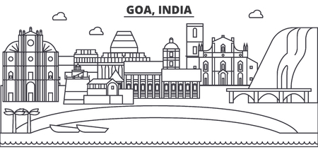 Goa, India architecture line skyline illustration. Linear vector cityscape with famous landmarks, city sights, design icons. Editable strokes