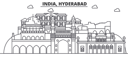 Hyderabad, India architecture line skyline illustration. Linear vector cityscape with famous landmarks, city sights, design icons. Editable strokes Vetores