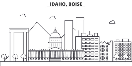 アイダホ州、ボイジー建築線スカイラインの図。有名なランドマーク、観光、デザイン アイコンと線形ベクトル街並み。編集可能なストローク  イラスト・ベクター素材