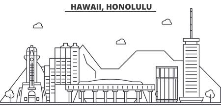 ハワイ、ホノルルの建築線スカイラインの図。有名なランドマーク、観光、デザイン アイコンと線形ベクトル街並み。編集可能なストローク  イラスト・ベクター素材