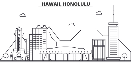 Hawaii, Honolulu architecture line skyline illustration. Linear vector cityscape with famous landmarks, city sights, design icons. Editable strokes Illustration