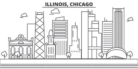 イリノイ州シカゴ建築線スカイラインの図。有名なランドマーク、観光、デザイン アイコンと線形ベクトル街並み。編集可能なストローク