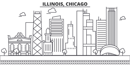 Illinois, Chicago architecture line skyline illustration. Linear vector cityscape with famous landmarks, city sights, design icons. Editable strokes