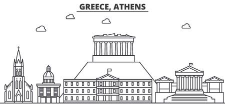 ギリシャ、アテネの建築線のスカイラインの図。有名なランドマーク、観光、デザイン アイコンと線形ベクトル街並み。編集可能なストローク