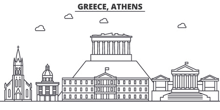 Greece, Athens architecture line skyline illustration. Linear vector cityscape with famous landmarks, city sights, design icons. Editable strokes