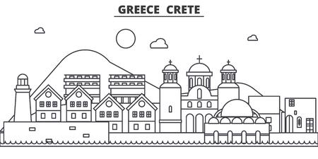 ギリシャ、クレタ島建築線スカイラインの図。有名なランドマーク、観光、デザイン アイコンと線形ベクトル街並み。編集可能なストローク