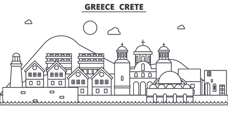 Greece, Crete architecture line skyline illustration. Linear vector cityscape with famous landmarks, city sights, design icons. Editable strokes