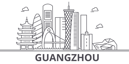 Guangzhou architecture line skyline illustration. Linear vector cityscape with famous landmarks, city sights, design icons. Editable strokes