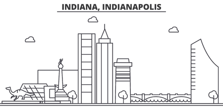 Indiana, Indianapolis  architecture line skyline illustration. Linear vector cityscape with famous landmarks, city sights, design icons. Editable strokes