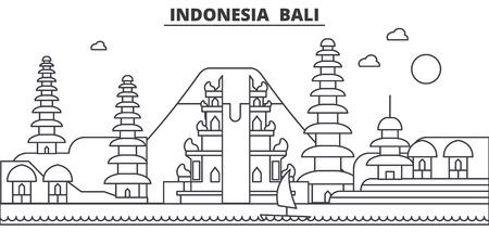 Indonesië, Bali de horizonillustratie van de architectuurlijn. Lineaire vector stadsgezicht met beroemde bezienswaardigheden, bezienswaardigheden van de stad, pictogrammen van het ontwerp. Bewerkbare lijnen