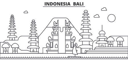 Indonesia, Bali architecture line skyline illustration. Linear vector cityscape with famous landmarks, city sights, design icons. Editable strokes