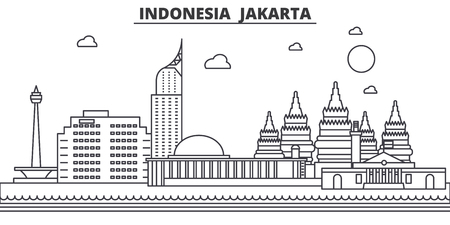 Indonesia, Jakarta architecture line skyline illustration. Linear vector cityscape with famous landmarks, city sights, design icons. Editable strokes  イラスト・ベクター素材