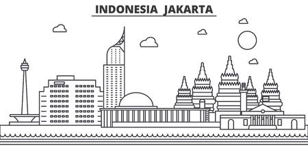インドネシア、ジャカルタの建築線のスカイラインの図。有名なランドマーク、観光、デザイン アイコンと線形ベクトル街並み。編集可能なストロ