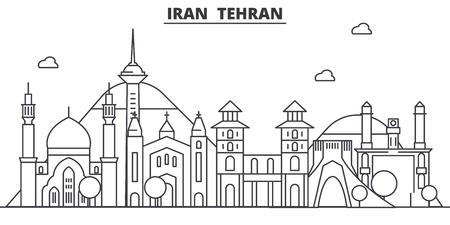 イラン、テヘラン建築線スカイラインの図。有名なランドマーク、観光、デザイン アイコンと線形ベクトル街並み。編集可能なストローク  イラスト・ベクター素材