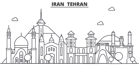 Iran, Tehran architecture line skyline illustration. Linear vector cityscape with famous landmarks, city sights, design icons. Editable strokes Çizim