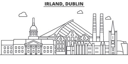 アイルランド、ダブリン建築線スカイラインの図。有名なランドマーク、観光、デザイン アイコンと線形ベクトル街並み。編集可能なストローク  イラスト・ベクター素材