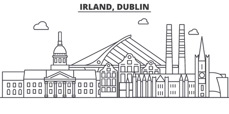 Irland, Dublin architecture line skyline illustration. Linear vector cityscape with famous landmarks, city sights, design icons. Editable strokes Ilustração