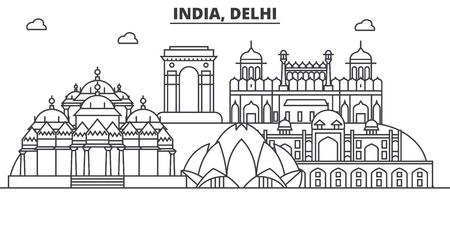 インド、デリーの建築線スカイラインの図。有名なランドマーク、観光、デザイン アイコンと線形ベクトル街並み。編集可能なストローク