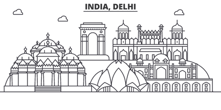 India, Delhi architecture line skyline illustration. Linear vector cityscape with famous landmarks, city sights, design icons. Editable strokes