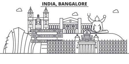 India, Bangalore architecture line skyline illustration. Linear vector cityscape with famous landmarks, city sights, design icons. Editable strokes