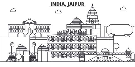 インド、ジャイプール建築線スカイラインの図。有名なランドマーク、観光、デザイン アイコンと線形ベクトル街並み。編集可能なストローク