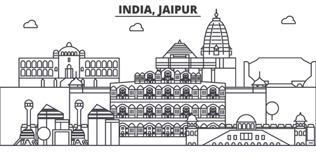 India, Jaipur architecture line skyline illustration. Linear vector cityscape with famous landmarks, city sights, design icons. Editable strokes