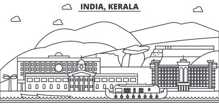 인도, 케 랄라 아키텍처 라인 스카이 라인 그림입니다. 선형 벡터 도시의 유명한 랜드 마크, 도시 명소, 디자인 아이콘. 편집 가능한 스트로크