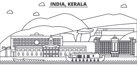 India, Kerala architecture line skyline illustration. Linear vector cityscape with famous landmarks, city sights, design icons. Editable strokes Иллюстрация