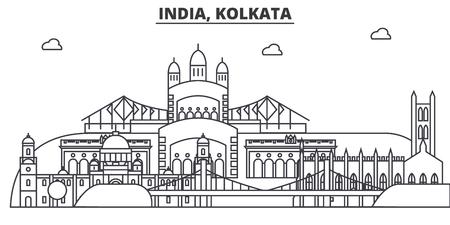 India, Kolkata architecture line skyline illustration. Linear vector cityscape with famous landmarks, city sights, design icons. Editable strokes