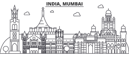 India, Mumbai architecture line skyline illustration. Linear vector cityscape with famous landmarks, city sights, design icons. Editable strokes