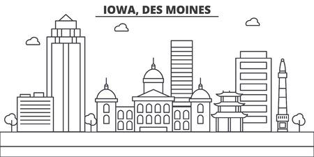 アイオワ州、デモインの建築線スカイラインのイラスト。有名なランドマーク、観光、デザイン アイコンと線形ベクトル街並み。編集可能なストロ