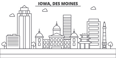 Iowa, Des Moines architecture line skyline illustration. Linear vector cityscape with famous landmarks, city sights, design icons. Editable strokes