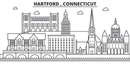 ハートフォード、コネチカット州建築線スカイラインの図。有名なランドマーク、観光、デザイン アイコンと線形ベクトル街並み。編集可能なスト