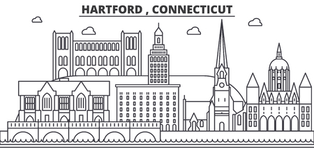 Hartford , Connecticut architecture line skyline illustration. Linear vector cityscape with famous landmarks, city sights, design icons. Editable strokes
