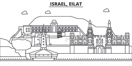 イスラエルのエイラート建築線スカイラインの図。有名なランドマーク、観光、デザイン アイコンと線形ベクトル街並み。編集可能なストローク 写真素材 - 87743748