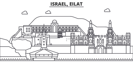 Israel, Eilat architecture line skyline illustration. Linear vector cityscape with famous landmarks, city sights, design icons. Editable strokes