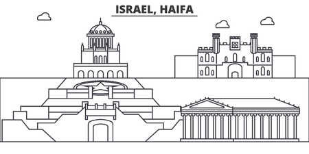 Israel, Haifa architecture line skyline illustration. Linear vector cityscape with famous landmarks, city sights, design icons. Editable strokes