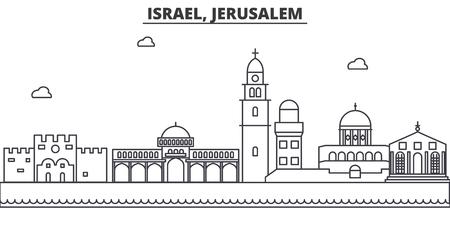 イスラエル、エルサレムの建築線のスカイラインの図。有名なランドマーク、観光、デザイン アイコンと線形ベクトル街並み。編集可能なストロー