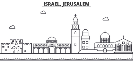 Israel, Jerusalem architecture line skyline illustration. Linear vector cityscape with famous landmarks, city sights, design icons. Editable strokes