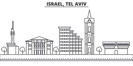 Istael, Tel Aviv architecture line skyline illustration. Linear vector cityscape with famous landmarks, city sights, design icons. Editable strokes Vektoros illusztráció