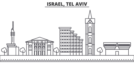 Istael, Tel Aviv architecture line skyline illustration. Linear vector cityscape with famous landmarks, city sights, design icons. Editable strokes Illustration