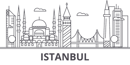 Istanbul architecture line skyline illustration. Linear vector cityscape with famous landmarks, city sights, design icons. Editable strokes