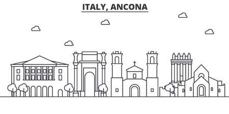 Italy, Ancona architecture line skyline illustration. Linear vector cityscape with famous landmarks, city sights, design icons. Editable strokes 向量圖像