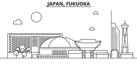 일본, 후쿠오카 아키텍처 라인 스카이 라인 그림입니다. 선형 벡터 도시의 유명한 랜드 마크, 도시 명소, 디자인 아이콘. 편집 가능한 스트로크