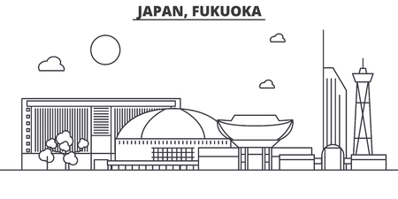 Japan, Fukuoka architecture line skyline illustration. Linear vector cityscape with famous landmarks, city sights, design icons. Editable strokes