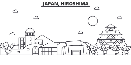Japan, Hiroshima architecture line skyline illustration. Linear vector cityscape with famous landmarks, city sights, design icons. Editable strokes