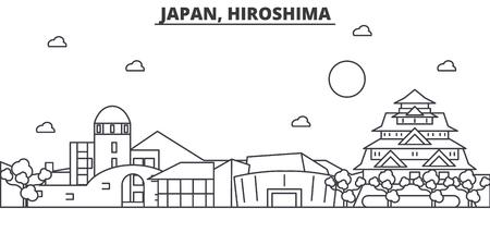 일본, 히로시마 아키텍처 라인 스카이 라인 그림입니다. 선형 벡터 도시의 유명한 랜드 마크, 도시 명소, 디자인 아이콘. 편집 가능한 스트로크