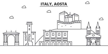 イタリア、アオスタ建築線スカイラインの図。有名なランドマーク、観光、デザイン アイコンと線形ベクトル街並み。編集可能なストローク