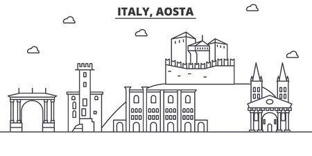 Italy, Aosta architecture line skyline illustration. Linear vector cityscape with famous landmarks, city sights, design icons. Editable strokes Ilustração