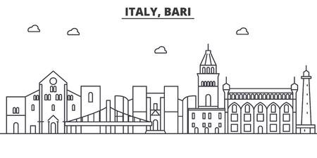 이탈리아, 바리 아키텍처 라인 스카이 라인 그림입니다. 선형 벡터 도시의 유명한 랜드 마크, 도시 명소, 디자인 아이콘. 편집 가능한 스트로크